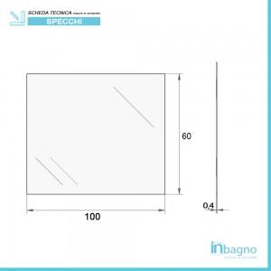 Scheda tecnica specchio rettangolare decorativo a filo lucido 100x60 reversibile