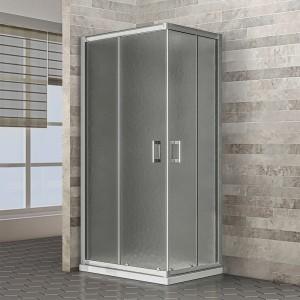 Box Doccia 80x100 cm porte scorrevoli in cristallo opaco