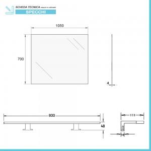 scheda Specchio bagno LED 105x70 cm