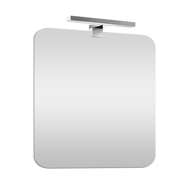 Specchio bagno con angoli tondi 60x90 cm lampada inclusa a luce fredda