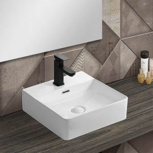 Lavabo da appoggio in ceramica rettangolare 41x42 cm bianco lucido