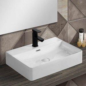 Lavabo da appoggio in ceramica rettangolare 60x42 cm bianco lucido