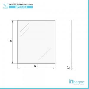Scheda tecnica specchio rettangolare decorativo a filo lucido 60x80 reversibile
