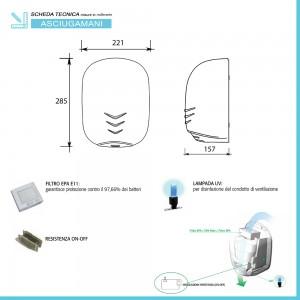 Dimensioni e inclusioni asciugamano ad aria 1100W con sensore ultra veloce nero