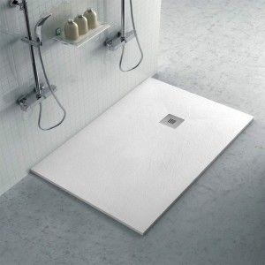 Piatto doccia su misura 90x120 Karen in resina bianco effetto pietra