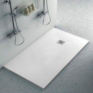 Piatto doccia filo pavimento Karen 80x160 in resina bianco pietra
