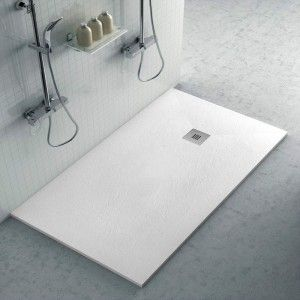 Piatto doccia filo pavimento Karen 80x150 in resina bianco pietra