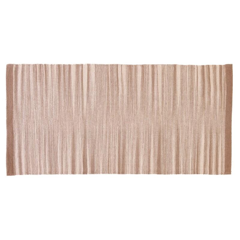 Tappeto 100% Cotone Da 60x120 Cm Color Beige Per Bagno O Lavanderia
