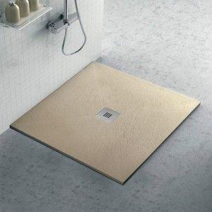 Piatto doccia filo pavimento Karen 90x90 in resina pietra tortora