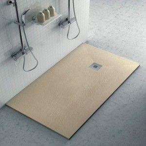 Piatto doccia filo pavimento Karen 80x160 in resina pietra tortora