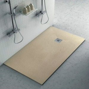 Piatto doccia filo pavimento Karen 80x150 in resina pietra tortora