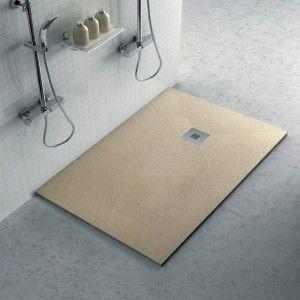 Piatto doccia 80x100 filo pavimento Karen in resina pietra tortora