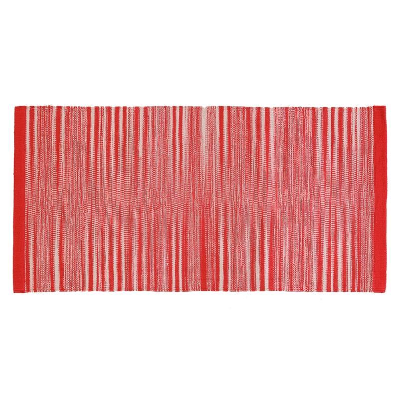 Tappeto 100% Cotone Da 50x80 Cm Color Rosso Per Bagno O Lavanderia