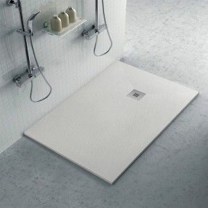 Piatto doccia 70x100 filo pavimento Karen in resina ghiaccio pietra