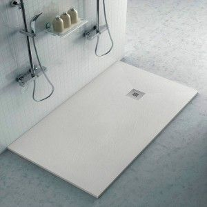 Piatto doccia filo pavimento Karen 75x170 in resina ghiaccio pietra