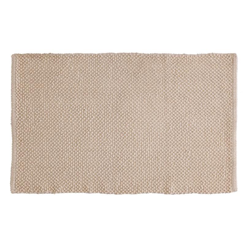 Tappeto Ecru In Cotone 100% 60x100 Cm Arredo Bagno Moderno