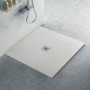 Piatto doccia filo pavimento Karen 100x100 in resina ghiaccio pietra