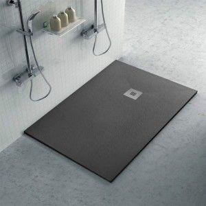 Piatto doccia 70x120 in resina su misura effetto pietra antracite Karen