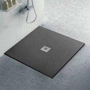Piatto doccia ardesia 70x70 resina effetto pietra antracite Karen