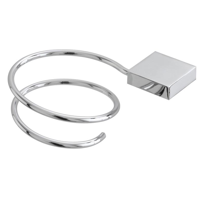 Porta Asciugacapelli Per Il Bagno In Metallo Lucido a Parete