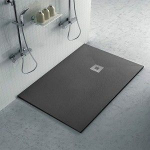 Piatto doccia ardesia 80x110 Karen in resina effetto pietra antracite