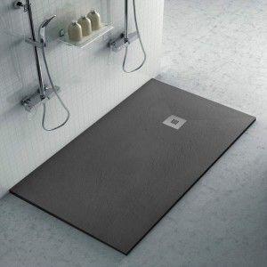 Piatto doccia ardesia 80x190 resina effetto pietra antracite Karen