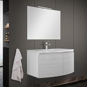 Mobile bagno sospeso curvo 80 cm rovere nordico con lavabo e specchio