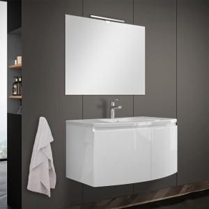 Mobile bagno sospeso curvo 80 cm bianco lucido con lavabo e specchio