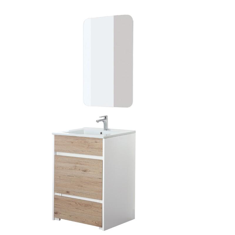 Mobile Bagno a Terra 60 cm con Pouf Estraibile colore Bianco e Rovere