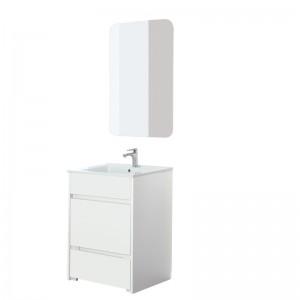 Mobile Bagno 60 a Terra Con Pouf Estraibile Vasca e Specchio Family Bianco