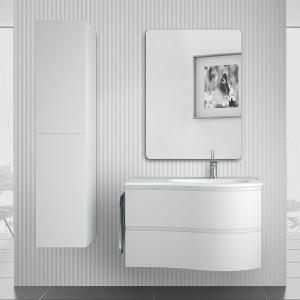 Mobile bagno sospeso 90  Melody bianco opaco con vasca e specchio