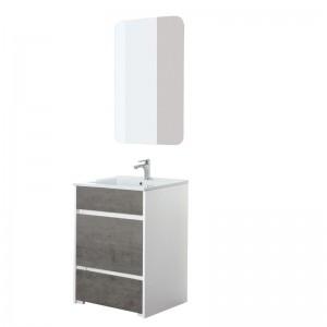 Mobile Bagno Moderno colore Grigio e Bianco con Pouf Estraibile 60 cm