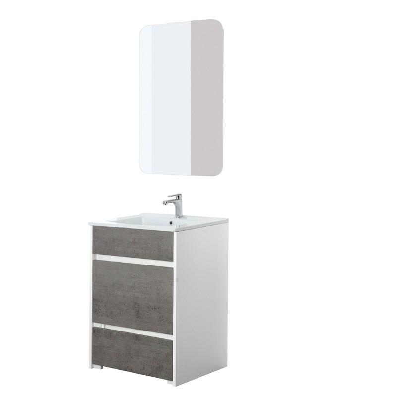 Mobile bagno moderno a terra grigio 60 cm con pouf estraibile - Bagno moderno grigio ...