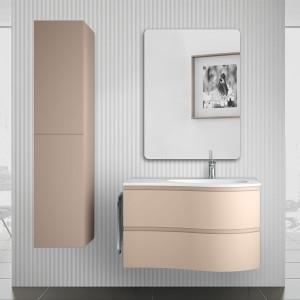 Mobile bagno sospeso 90 Melody cappuccino con vasca decentrata e specchio
