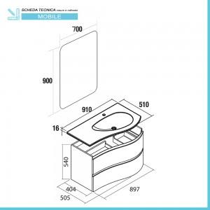 Scheda tecnica mobile bagno sospeso curvo 90 Melody azzurro polvere con anta sagomata
