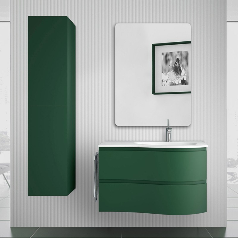 Mobile bagno sospeso 90  Melody verde opaco con vasca e specchio