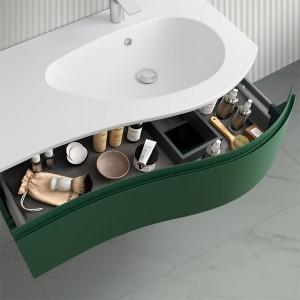 Mobiletto bagno sospeso 90  Melody verde opaco con vasca e specchio