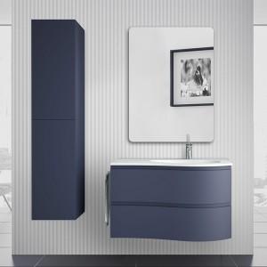 Mobile bagno sospeso 90 Melody blu navy con vasca decentrata e specchio