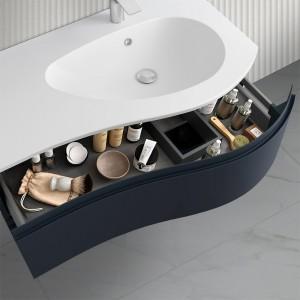 Mobiletto bagno sospeso 90 Melody blu navy con vasca decentrata e specchio