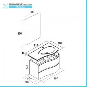 Scheda tecnica mobile bagno sospeso 90 Melody blu navy con vasca decentrata e specchio