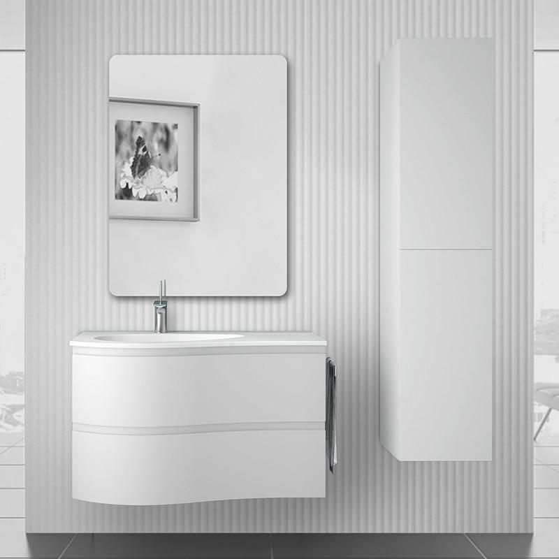 Mobile bagno sospeso 90  Melody bianco opaco con vasca decentrata