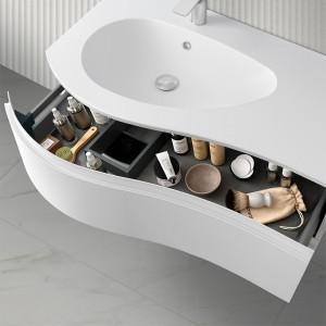 Mobiletto bagno sospeso 90  Melody bianco opaco con vasca decentrata