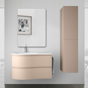 Mobile bagno sospeso 90 Melody cappuccino completo di vasca e specchio