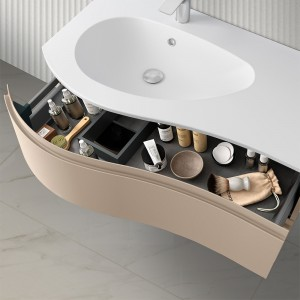 Mobiletto bagno sospeso 90 Melody cappuccino completo di vasca e specchio