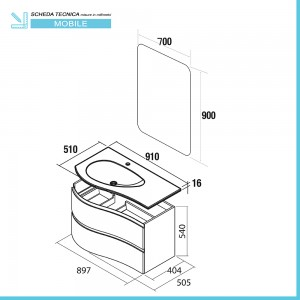 Scheda tecnica mobile bagno sospeso 90 Melody cappuccino completo di vasca e specchio
