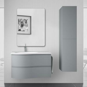 Mobile bagno sospeso curvo 90 Melody azzurro polvere con vasca e specchio