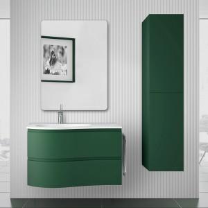 Mobile bagno sospeso curvo 90  Melody verde opaco con anta sagomata