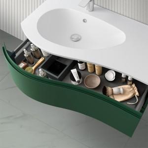 Mobiletto bagno sospeso 90  Melody verde opaco con anta sagomata