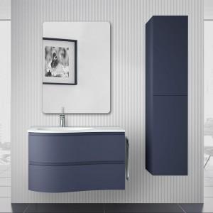 Mobile bagno sospeso curvo 90 Melody blu navy con vasca e specchio
