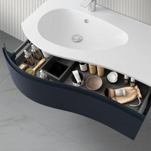 Mobiletto bagno sospeso 90 Melody blu navy con vasca e specchio